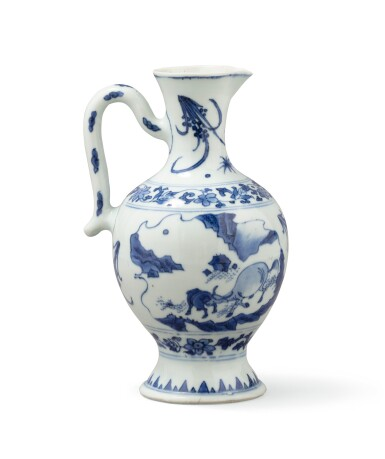 View 3. Thumbnail of Lot 378. A blue and white ewer, China, Qing Dynasty, 19th century.
