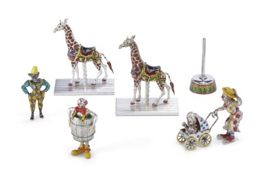 A GROUP OF AMERICAN SILVER AND ENAMEL CIRCUS FIGURES, DESIGNED BY GENE MOORE FOR TIFFANY & CO., NEW YORK, CIRCA 1990