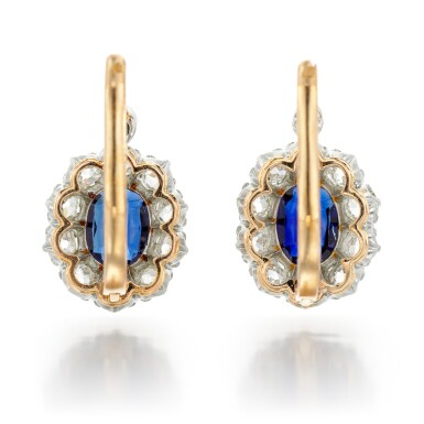 View 3. Thumbnail of Lot 72. PAIR OF SAPPHIRE AND DIAMOND EARRINGS.