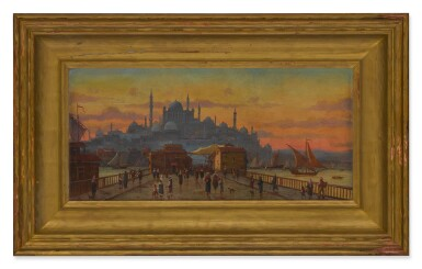 View 3. Thumbnail of Lot 123. Constantinople, a view of the Galata Bridge at sunset.