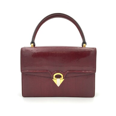 View 1. Thumbnail of Lot 725. GUCCI   BURGUNDY VINTAGE BAG IN LIZARD, c.1960s.