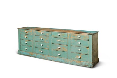 View 2. Thumbnail of Lot 1474. BLUE-PAINTED PINE STORE COUNTER FITTED WITH SIXTEEN DRAWERS, PROBABLY VERMONT, CIRCA 1880.