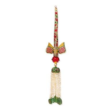 View 2. Thumbnail of Lot 596. SEED PEARL, GEM-SET AND ENAMEL TURBAN ORNAMENT (TURRA) | 小顆珍珠配寶石及琺瑯彩頭巾裝飾.