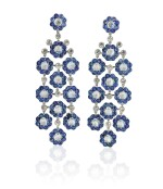 Pair of sapphire, moonstone and diamond pendent earrings, Michele della Valle