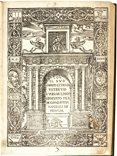 Vitruvius, Architettura, Perugia, 1536, modern crushed green morocco