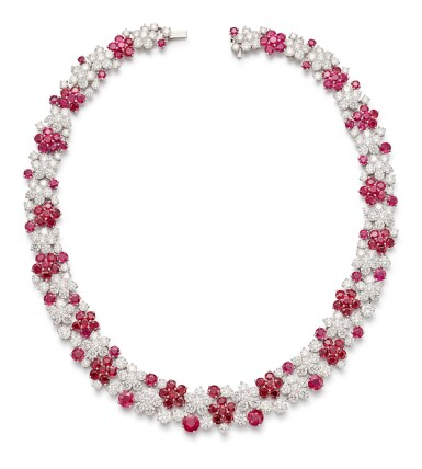 View 2. Thumbnail of Lot 1019. Ruby and Diamond Necklace | 格拉夫| 紅寶石 配 鑽石 項鏈 (紅寶石及鑽石共重約46.50及50.30克拉).