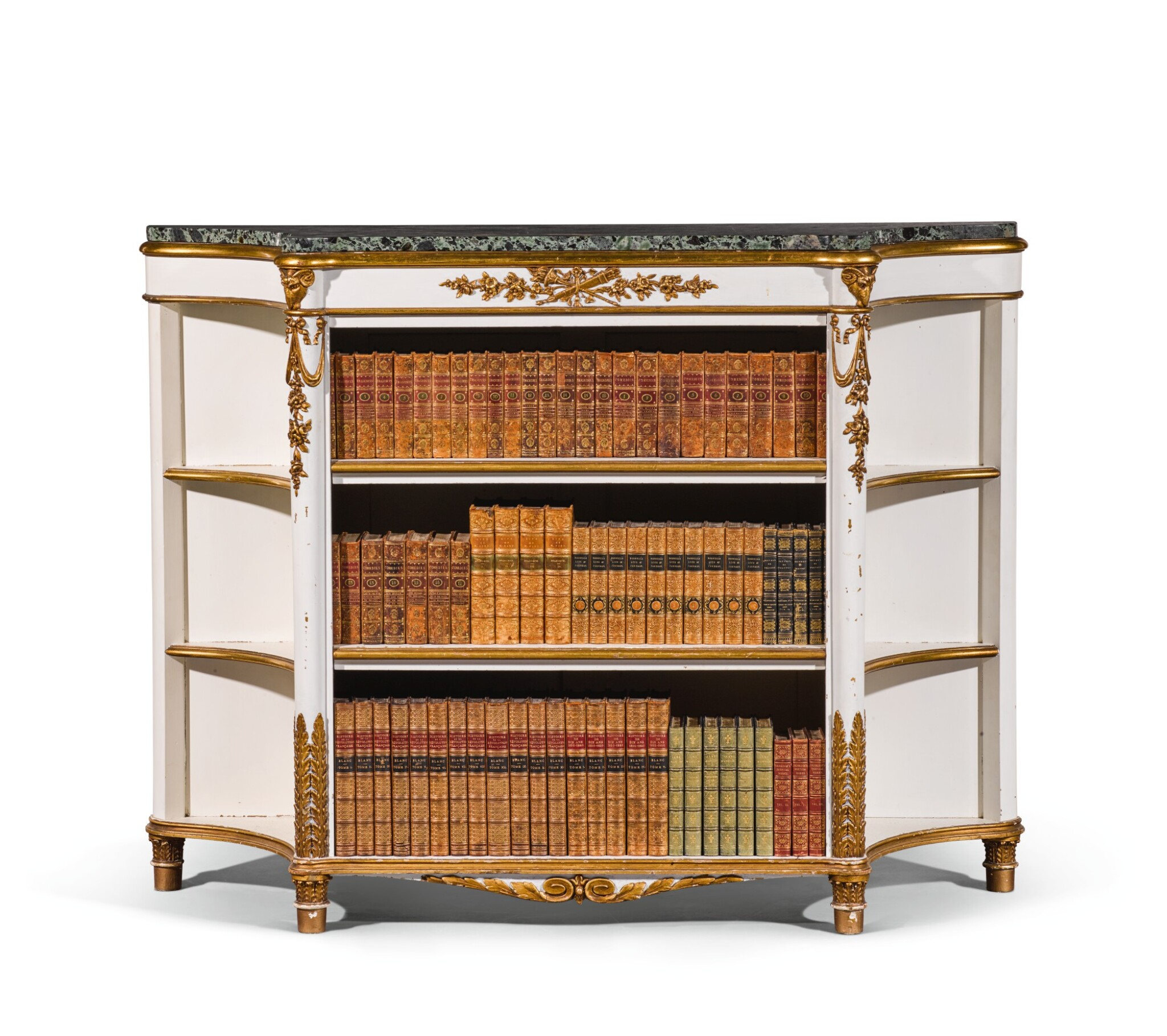 View full screen - View 1 of Lot 40. A Regency style painted and parcel-gilt bookcase, late 19th/early 20th century.