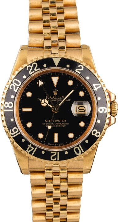 View 2. Thumbnail of Lot 8. ROLEX | GMT-Master, Ref. 16758, A Yellow Gold Wristwatch with Bracelet Circa 1981.
