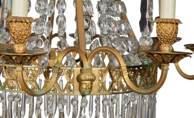 View 3. Thumbnail of Lot 97. A Russian Neoclassical Style Gilt Bronze and Cut Glass Eight-Light Chandelier.