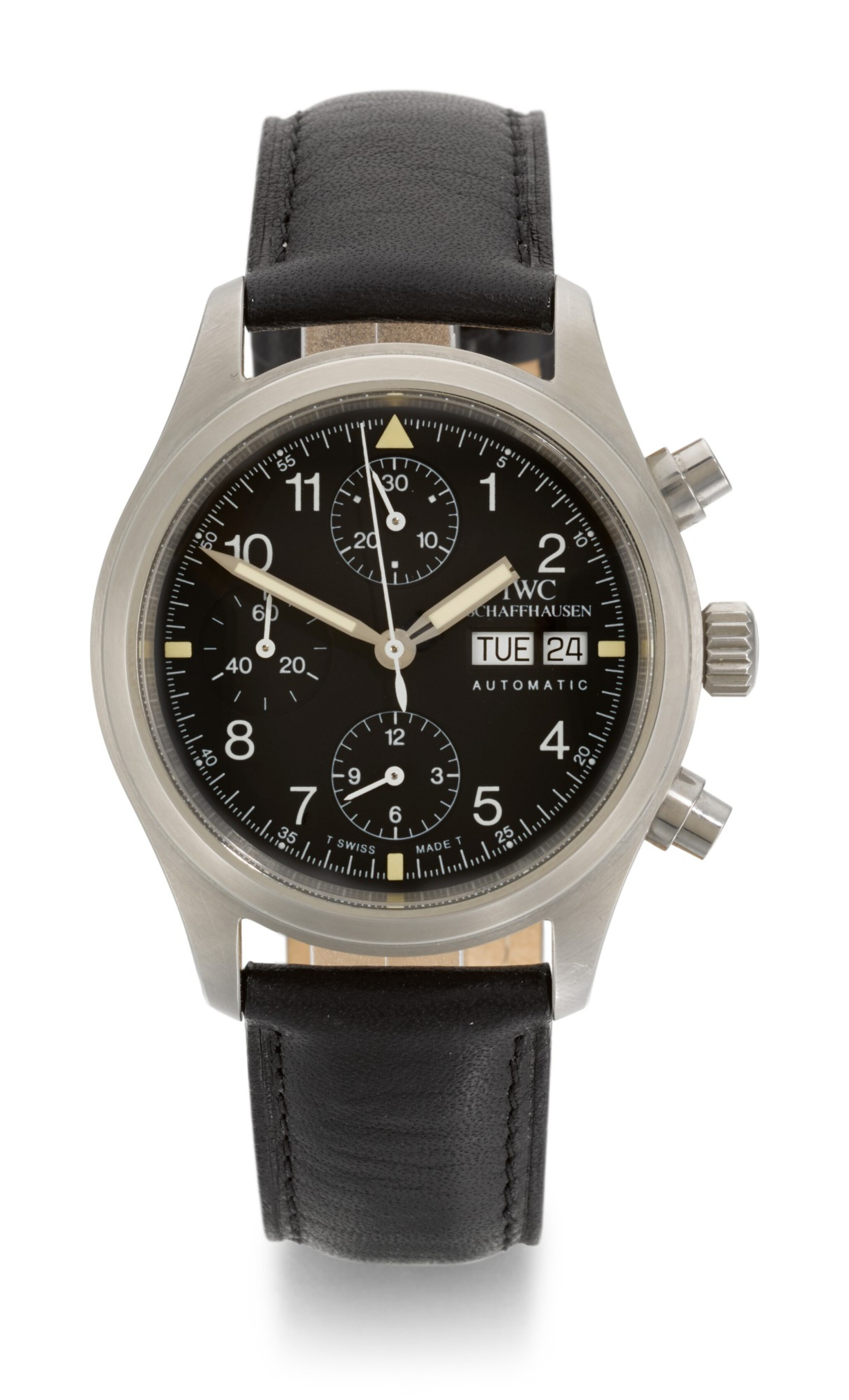 IWC | FLIEGERCHRONOGRAPH, REFERENCE 3706, STAINLESS STEEL CHRONOGRAPH WRISTWATCH WITH DAY AND DATE, CIRCA 2000