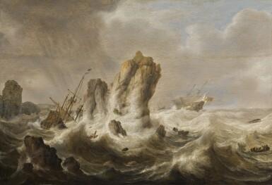 View 1. Thumbnail of Lot 40. SIMON JACOBSZ. DE VLIEGER   A shipwreck.