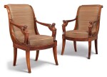 A PAIR OF EMPIRE MAHOGANY AND MAHOGANY-VENEERED FAUTEUILS , CIRCA 1805