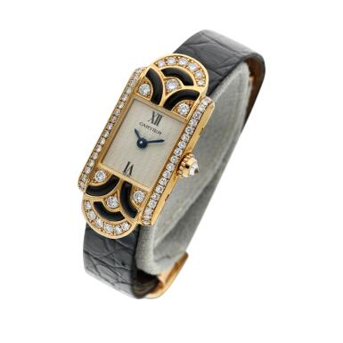 View 2. Thumbnail of Lot 94.  Reference 1361 A yellow gold enamel and diamond-set wristwatch, Circa 1990 .