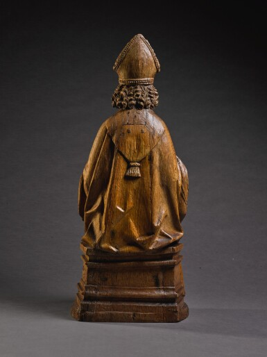 ATTRIBUTED TO TILMAN HEYSACKER, CALLED MEISTER TILMAN (ACTIVE CIRCA 1475-1515), GERMAN, COLOGNE, CIRCA 1500 | SEATED BISHOP SAINT