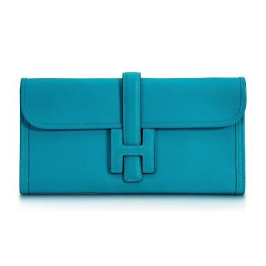 View 1. Thumbnail of Lot 8333. Turquoise Swift Jige Elan 29, 2014 | 愛馬仕藍綠色 Swift 小牛皮29公分 Jige Elan 手拿包,2014年.