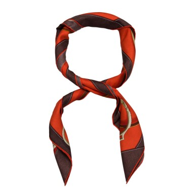 """View 3. Thumbnail of Lot 144. Hermès """"Project Carres"""" Silk Twill Scarf 90cm."""