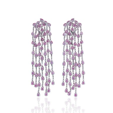 View 3. Thumbnail of Lot 16. PAIR OF PINK SAPPHIRE AND DIAMOND EARRINGS, MICHELE DELLA VALLE.