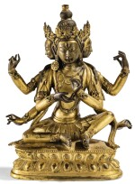 RARE STATUETTE DE PARNASHAVARI EN BRONZE DORÉ DYNASTIE QING, XVIIIE SIÈCLE |  清十八世紀 鎏金銅葉衣菩薩坐像 | A rare gilt-bronze figure of Parnashavari, Qing Dynasty, 18th century