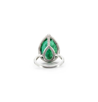 View 3. Thumbnail of Lot 15. EMERALD AND DIAMOND RING.