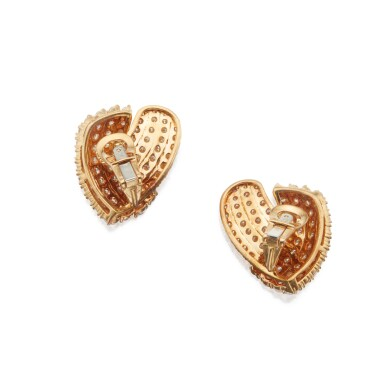 View 3. Thumbnail of Lot 317. Tiffany & Co.   Pair of Gold and Diamond Earclips.