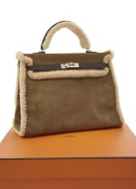 Shearling and brown calf box leather with palladium hardware, 'Teddy Kelly' limited edition, Hermès, 2005