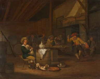 HENDRICK BOGAERT | A tavern interior with peasants gathered around a table