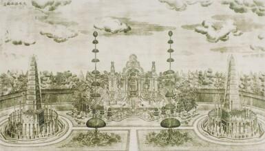 View 32. Thumbnail of Lot 362. A SET OF TWENTY PRINTS OF PALACES, PAVILIONS AND GARDENS AT YUANMING YUAN | 巴黎、1977年 《郎世寧圓明園西洋樓》 一組二十幅 水墨紙本.