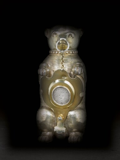 View 2. Thumbnail of Lot 6. A German silver-gilt cup and cover in the form of a bear, maker's mark only MV conjoined (the shield Melchior Bair), Augsburg, circa 1600.