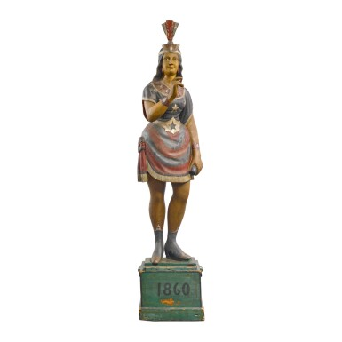 VERY RARE POLYCHROME PAINT-DECORATED CAST ZINC TOBACCONIST 'RISING STAR' TRADE FIGURE, ATTRIBUTED TO WILLIAM DEMUTH (1835-1911), NEW YORK, CIRCA 1874
