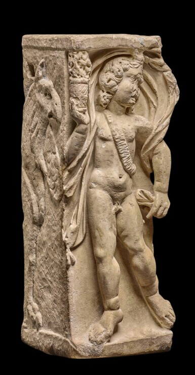 View 2. Thumbnail of Lot 87. A Roman Marble Season Sarcophagus Fragment, 3rd Century A.D..