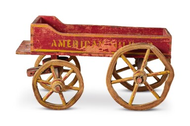 View 2. Thumbnail of Lot 1496.  'AMERICAN MILK COMPANY' PAINTED WOOD AND WIRE CHILDREN'S PULL-TOY WAGON, EARLY 20TH CENTURY.