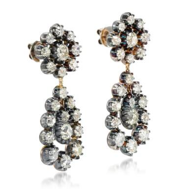 View 2. Thumbnail of Lot 81. Pair of diamond earrings.