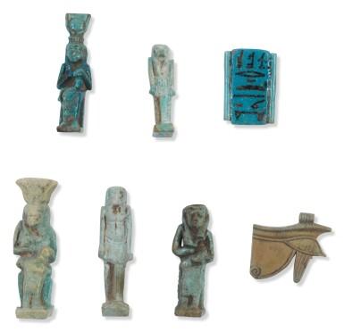 FIVE EGYPTIAN BLUE-GLAZED AMULETIC FIGURES, 26TH DYNASTY, CIRCA 664-525 B.C.