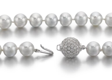 View 2. Thumbnail of Lot 1015. CULTURED PEARL AND DIAMOND NECKLACE.