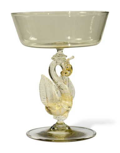 View 3. Thumbnail of Lot 329. A SET OF TEN VENICE YELLOW-TINTED CHAMPAGNE OR SWEETMEAT GLASSES, LATE 19TH/ 20TH CENTURY.