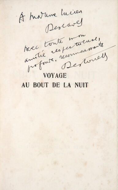 View 2. Thumbnail of Lot 223. CELINE. Voyage au bout de la nuit. 1932. Ed. originale. Un des rares premiers ex sur Arches, avec envoi a.s..