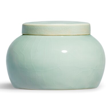 View 1. Thumbnail of Lot 19. AN EXCEPTIONALLY RARE JADEITE-GREEN GLAZEDJAR AND COVER MING DYNASTY, YONGLE PERIOD | 明永樂 翠青釉蓋罐.