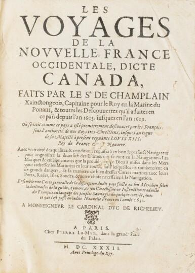 View 3. Thumbnail of Lot 103. CHAMPLAIN. Les Voyages de la Nouvelle France occidentale... P., Le Mur, 1632. In-4 basane brune de l'ép. 3e édition .