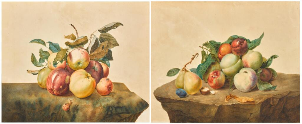 C. GERADTS | A still life with apples and a snail; and A still life with peaches, pears, plums and a walnut