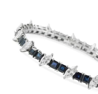 View 3. Thumbnail of Lot 91. Sapphire and diamond bracelet [Bracelet saphirs et diamants].