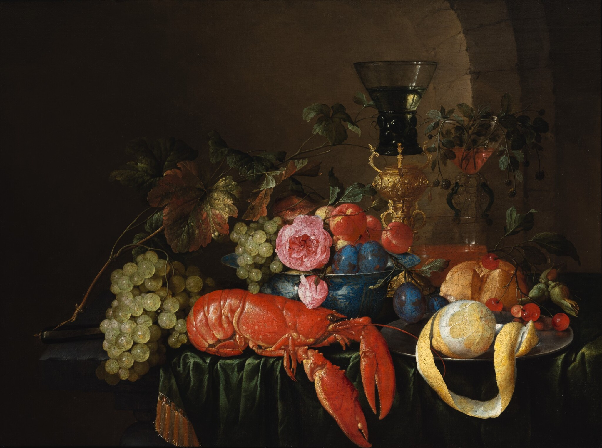 View full screen - View 1 of Lot 122. CORNELIS DE HEEM     STILL LIFE WITH A LOBSTER, A PEELED LEMON ON A PEWTER PLATTER, A ROEMER, AND FRUITS ON A STONE LEDGE WITH GREEN DRAPE.