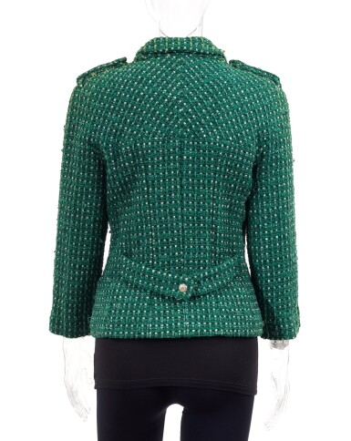 View 6. Thumbnail of Lot 85. GREEN AND WHITE TWEED JACKET AND MATCHING TWEED AND LEATHER CLASSIC SHOULDER BAG, CHANEL.