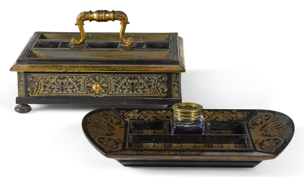 TWO REGENCY BRASS INLAID EBONY VENEERED INKSTANDS, CIRCA 1820