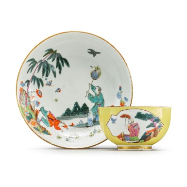 A MEISSEN YELLOW-GROUND TEABOWL AND SAUCER CIRCA 1735-40
