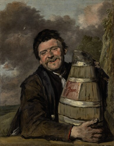 FRANS HALS AND STUDIO | PORTRAIT OF A FISHERMAN HOLDING A BEER KEG