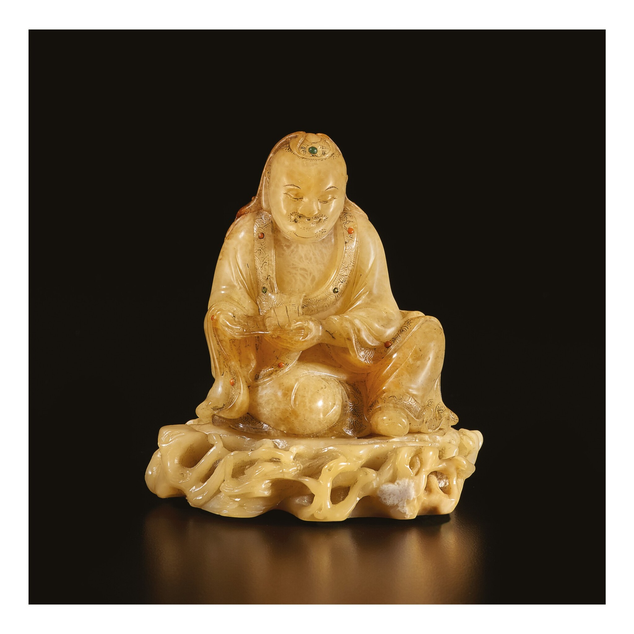 View full screen - View 1 of Lot 674. A SOAPSTONE FIGURE OF A LUOHAN, 17TH / 18TH CENTURY.