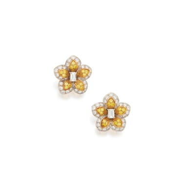 View 1. Thumbnail of Lot 91. PAIR OF DIAMOND AND COLORED DIAMOND EARCLIPS, VAN CLEEF & ARPELS.