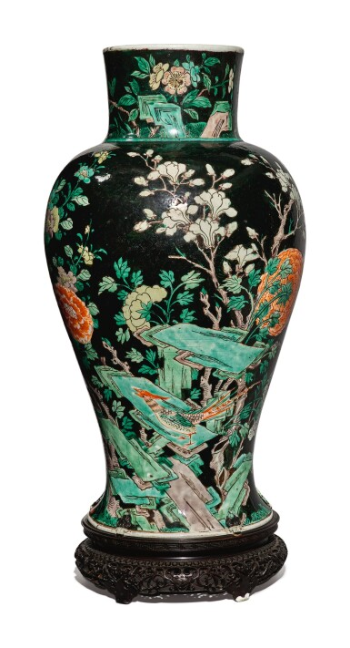 View 2. Thumbnail of Lot 1038. A FAMILLE-NOIRE 'BIRD AND FLOWER' BALUSTER JAR, QING DYNASTY, 19TH CENTURY.