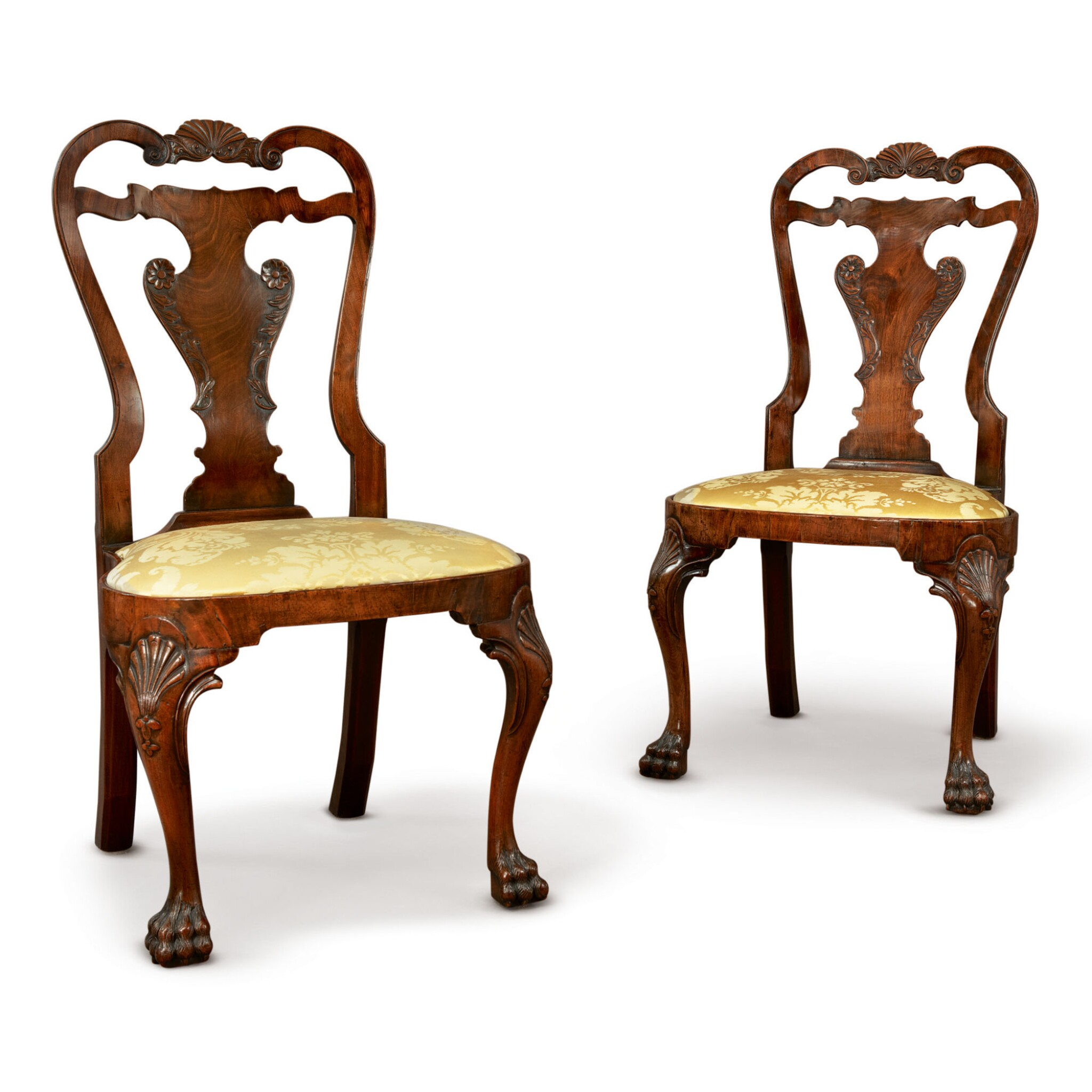 View full screen - View 1 of Lot 506. A PAIR OF GEORGE II WALNUT SIDE CHAIRS, CIRCA 1740.