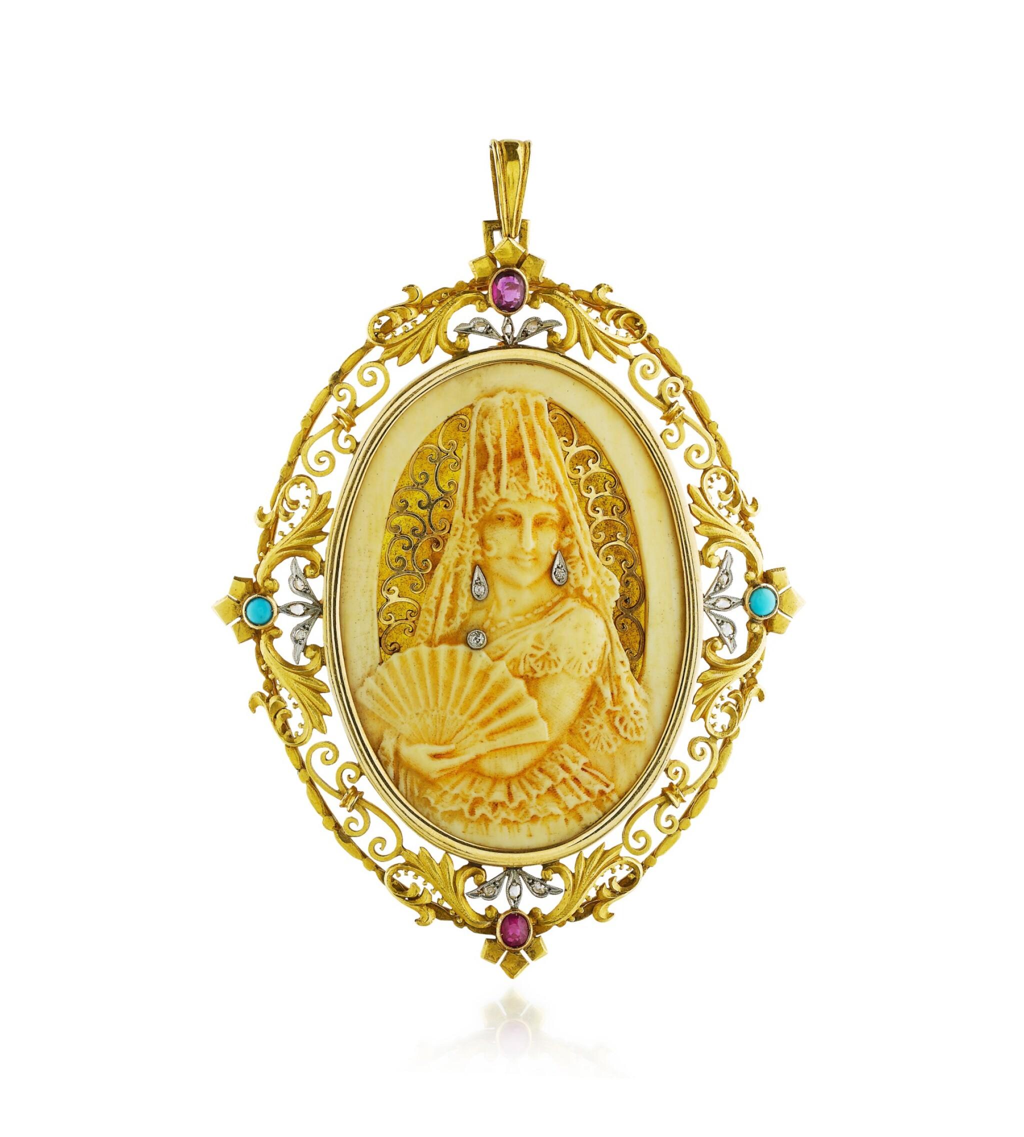 View full screen - View 1 of Lot 22. Pendentif ivoire, corne, pierres de couleur et diamants   Ivory, horn, gem set and diamond pendant.
